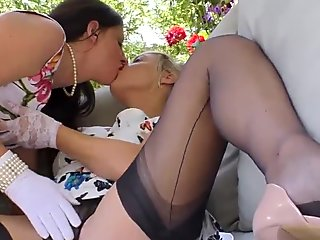 Mature stockings lesbian licking and fingering
