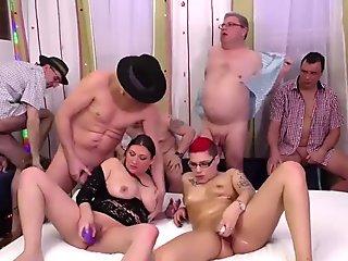 lederhosen group bang party orgy